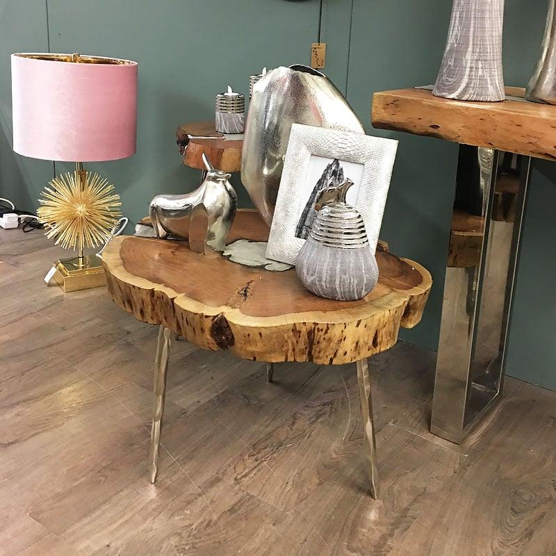 Celeste Acacia Wood Small Coffee Table With Aluminium