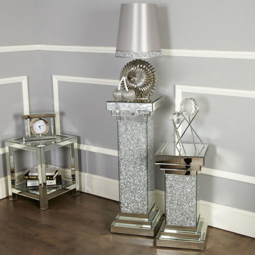 Finley Mirrored Large Pillar Lamp Table Vase Table End Table