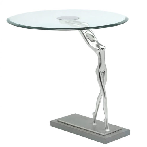 Florence End Table With A Figurine Holding A Floating Glass Table Top