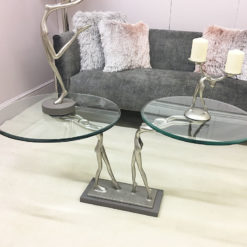 Florence Small End Table With A Figurine Holding A Floating Glass Top