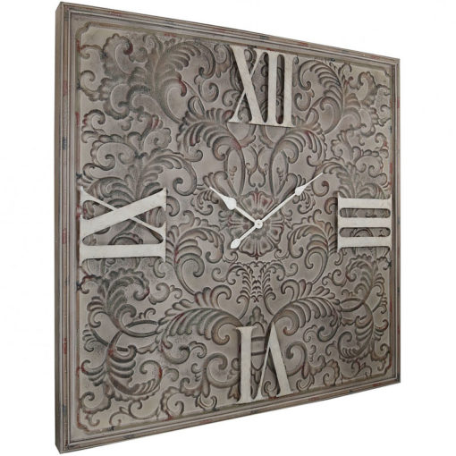 Giant Antique Brown Metal Wall Clock With A Raised Filigree Pattern