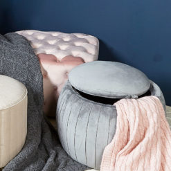 Grey Round Velvet Storage Stool In Plush Fabric