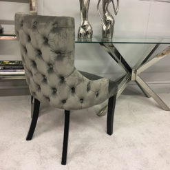 Grey Tufted Back Dining Chair