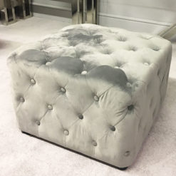 Soft Grey Velvet Square Stool With Tufted Buttons