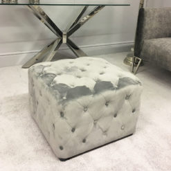 Grey Velvet Square Stool With Tufted Buttons