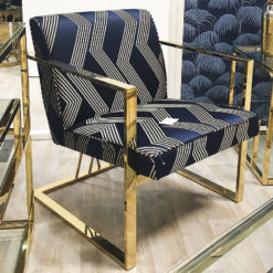 Hailey Blue Woven Fabric Gold Frame Chair Unique Seat Armchair