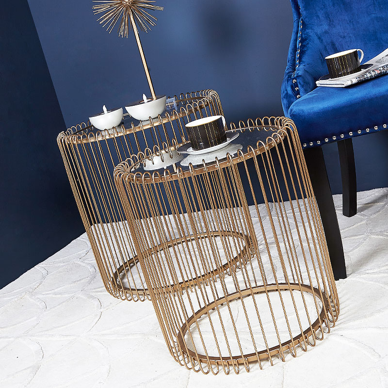 Harriet Gold Metal Nest Of 2 End Tables With Antique Mirror Top