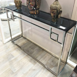 Idabelle Chrome And Tempered Glass Console Table