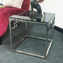 Isabelle Chrome And Tempered Glass End Side Lamp Table