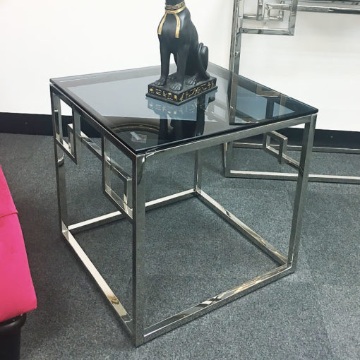 Idabelle Chrome And Tempered Glass End Side Lamp Table