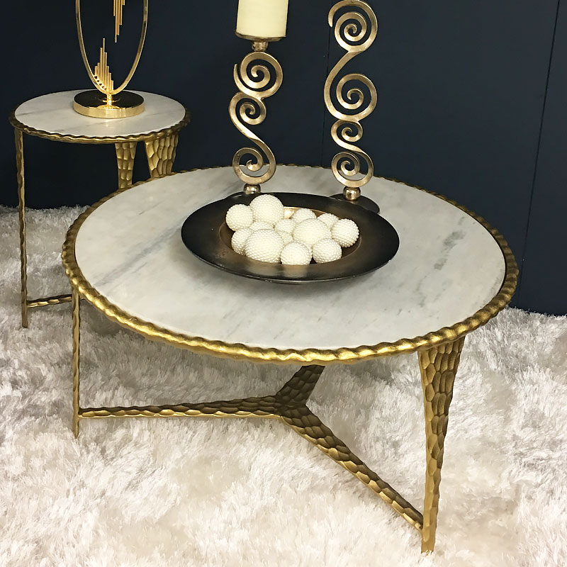 Kingston Hammered Gold And Marble Coffee Table Picture