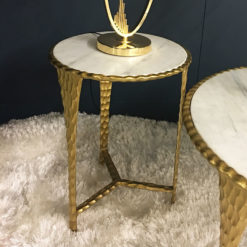 Kingston Hammered Gold And Marble End Side Table