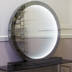 Large Smoked Mirror Round Table Lamp With Infinity Lights