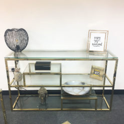 Lucia Gold Glass Multi Shelf Shelving Console Hall Display Table