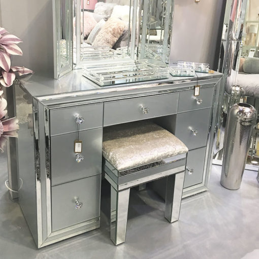 Madison Grey Crushed Velvet Mirrored Vanity Dressing Stool