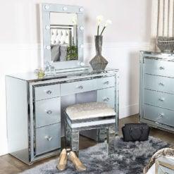 Madison Grey Crushed Velvet Mirrored Vanity Dressing Stool