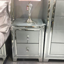Madison Grey Glass 2 Drawer Mirrored Bedside Cabinet