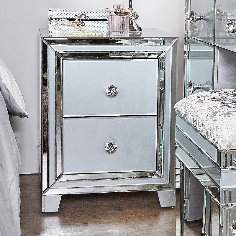 Madison Grey Glass 2 Drawer Mirrored Bedside Cabinet Picture