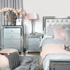 Madison Grey Glass 3 Drawer Mirrored Bedside Cabinet