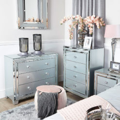 Madison Grey Glass 3 Drawer Mirrored Chest Of Drawers Cabinet