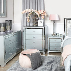 Madison Grey Glass 4 Drawer Mirrored Cabinet Chest of Drawers