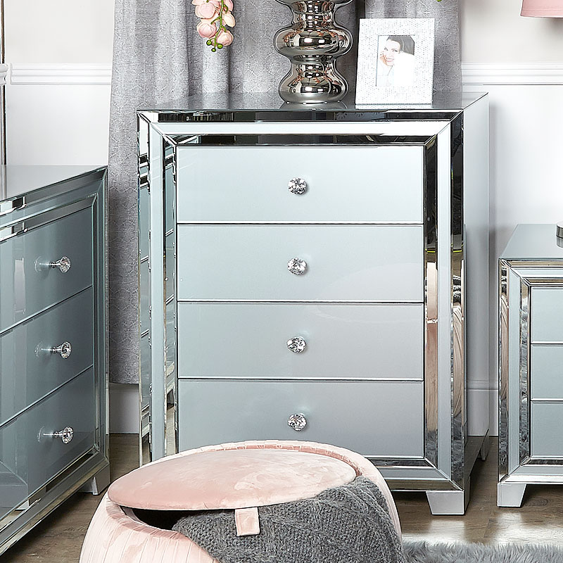 Madison Grey Glass 4 Drawer Mirrored Cabinet Chest Of