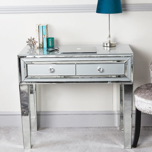 Madison Grey Glass Mirrored 2 Drawer Console Table Dressing Table