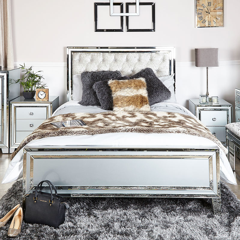Madison Grey Mirrored King Size Bed Frame Picture