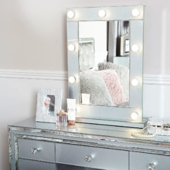 Madison Grey Vanity Mirrored Mirror With 9 Dimmable LED Light Bulbs