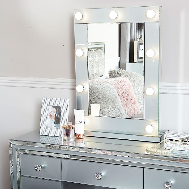 Madison Grey Vanity Mirrored Mirror With 9 Dimmable Led