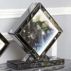 Medium Smoked Mirror Rainbow LED Infinity Diamond Table Lamp