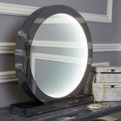 Medium Smoked Mirror Round Table Lamp With Infinity Lights