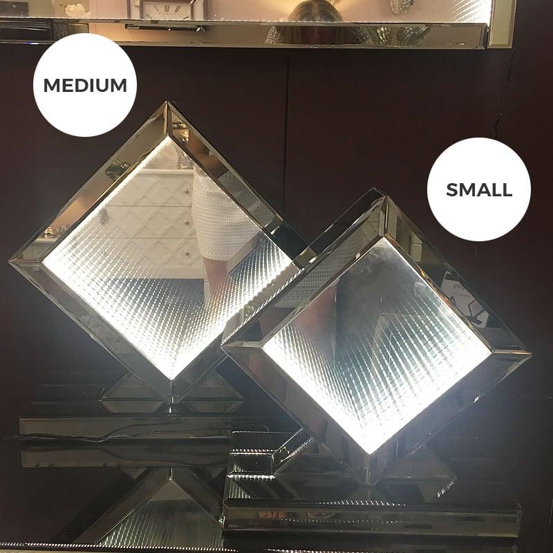 Small Smoked Mirror White Led Infinity Diamond Table Lamp