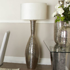 Nickel Elongated Amphora Floor Lamp With White Crocodile Velvet Shade