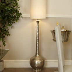 Nickel Elongated Gourd Floor Lamp With A White Crocodile Velvet Shade