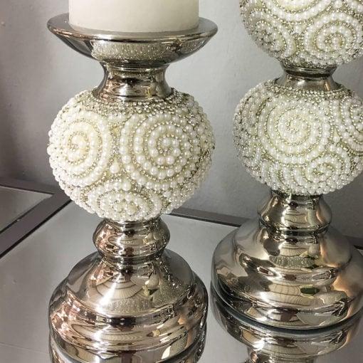 Pearl Swirl One Ball Candlestick Holder