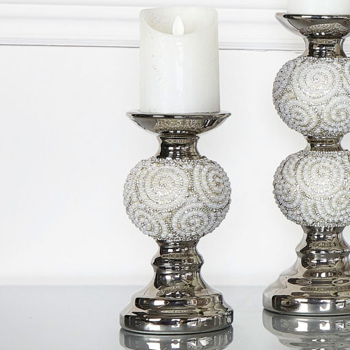Pearl Swirl One Ball Candlestick Holder