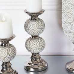 Pearl Swirl Two Ball Candlestick Holder