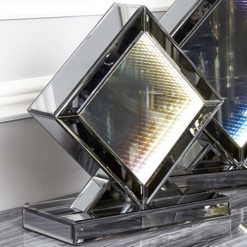 Small Smoked Mirror Rainbow LED Infinity Diamond Table Lamp