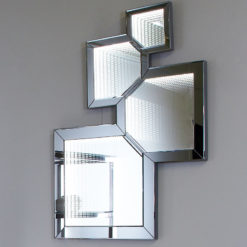 Smoked Mirror Abstract Wall Mirror With Infinity Lights