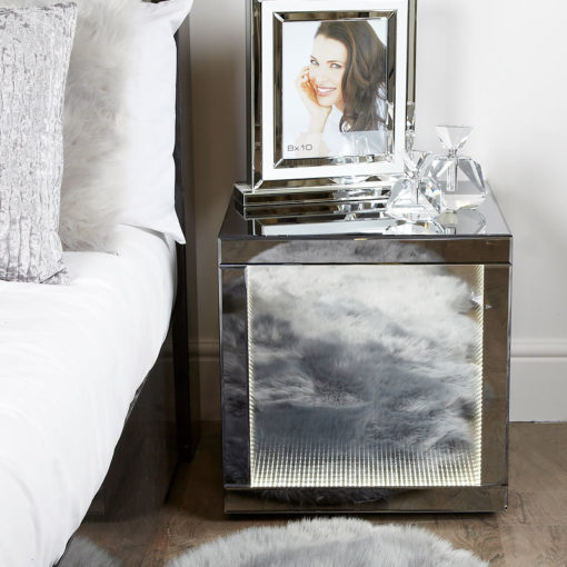 Smoked Mirror Cube End Side Table Bedside Table With Infinity Lights