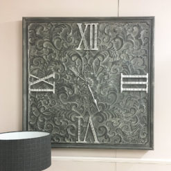 Giant Antique Grey Metal Wall Clock With A Raised Filigree Pattern
