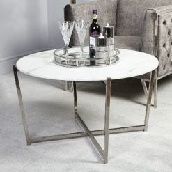 Vivienne Marble Top Coffee Table With Stainless Steel Frame
