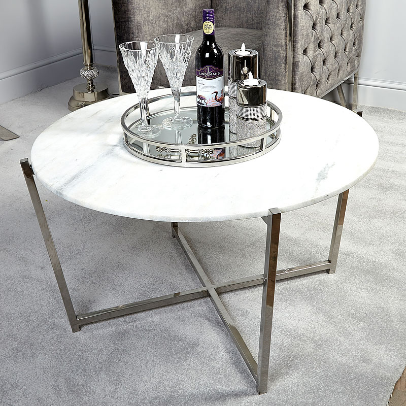 Vivienne Marble Top Coffee Table With Stainless Steel Frame Picture Perfect Home