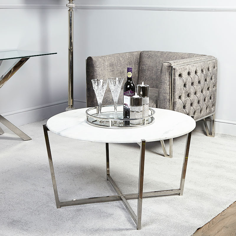 Vivienne Marble Top Coffee Table With Stainless Steel ...