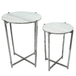 Vivienne Marble Top Set of 2 Nesting Tables With Stainless Steel Frame