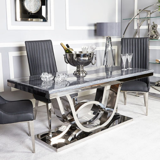 Zenia Grey And Chrome Dining Table