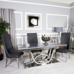 Zenia Grey And Chrome Dining Table And 6 Dark Grey Dining Chairs Set
