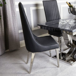 Zenia Grey Faux Leather And Chrome Dining Chair