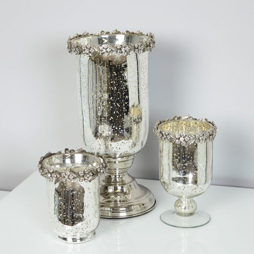 Antique Silver Glass Hurricane Candle Holder With Diamante Flower Trim